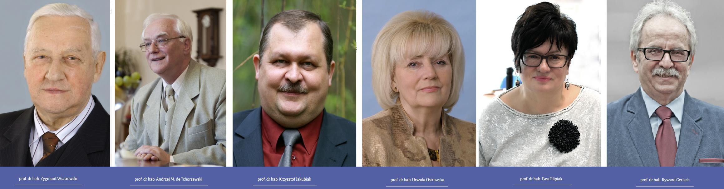 Fotografie dyrektorów (od lewej) prof. Zygmunt Wiatrowski, prof. Andrzej de Tchorzewski, prof. Krzysztof Jakubiak, prof. Urszula Ostrowska, prof. Ewa Filipiak, prof. Ryszard Gerlach
